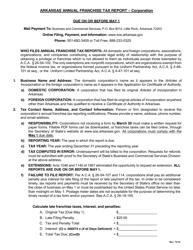 Instructions for Arkansas Annual Franchise Tax Report - Corporation - Arkansas