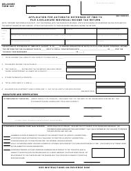 "Form 1027 ""Application for Automatic Extension of Time to File a Delaware Individual Income Tax Return"" - Delaware"