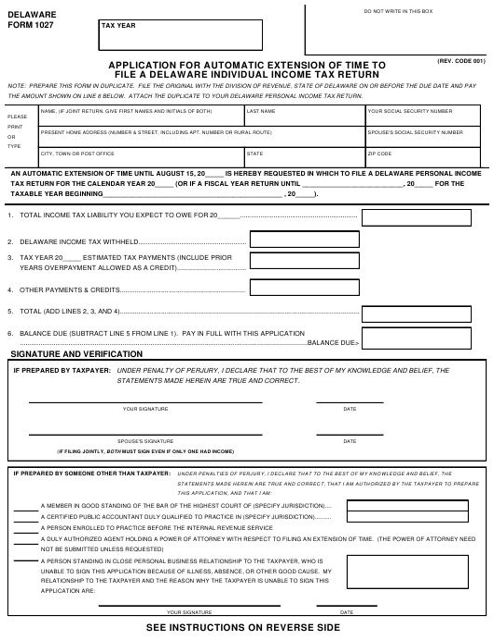 Form 1027  Printable Pdf