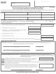 """Form 1027 """"Application for Automatic Extension of Time to File a Delaware Individual Income Tax Return"""" - Delaware"""