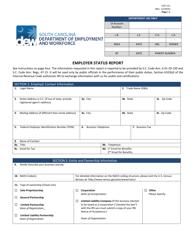 "Form UCE-151 ""Employer Status Report"" - South Carolina"
