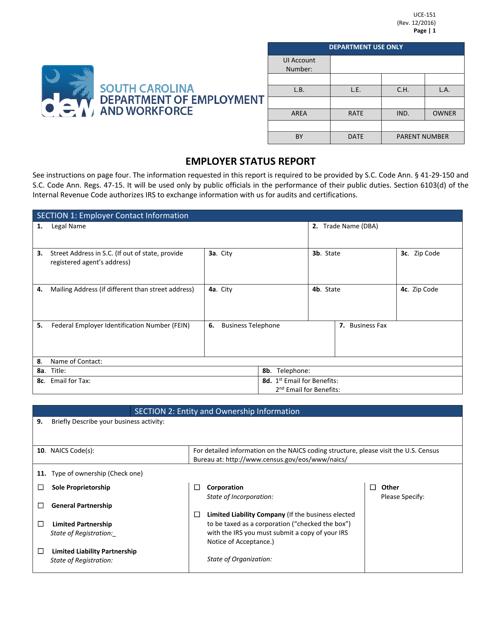 Form UCE-151  Printable Pdf