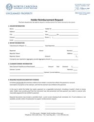 """Holder Reimbursement Request Form"" - North Carolina"