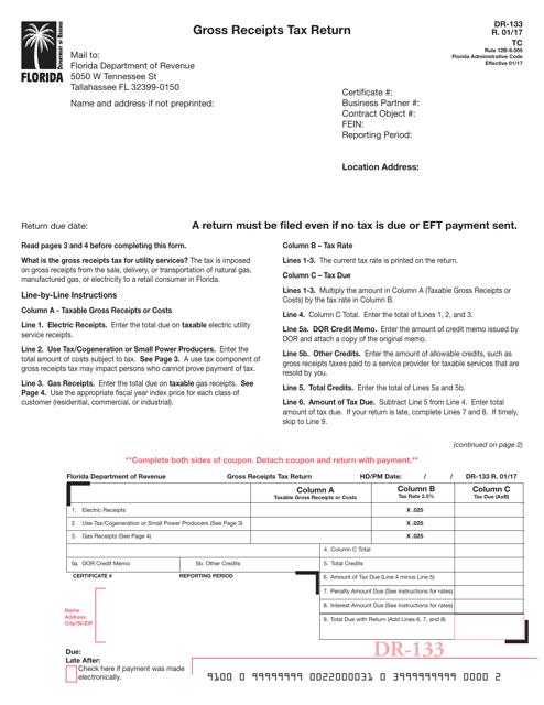 Form DR-133 Printable Pdf