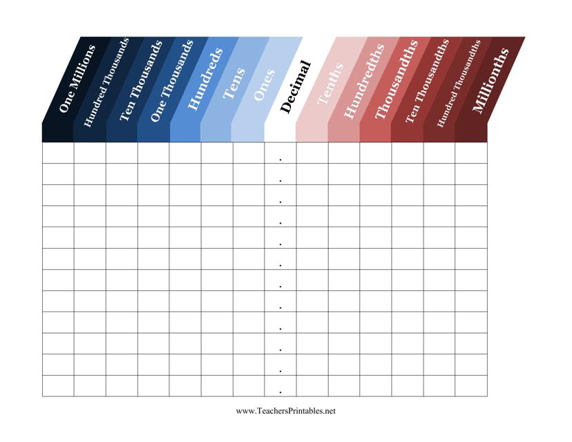 Decimal Place Value Chart Template Download Printable Pdf