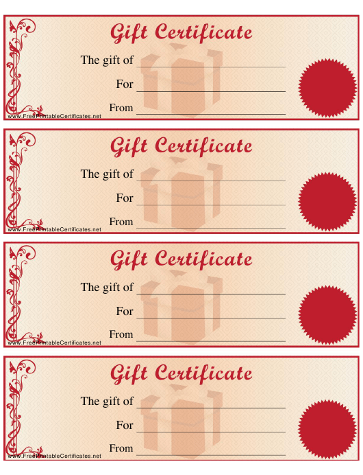 """""""Gift Certificate Template"""" Download Pdf"""