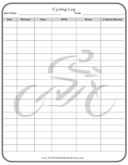 """Cycling Log Template"" Download Pdf"