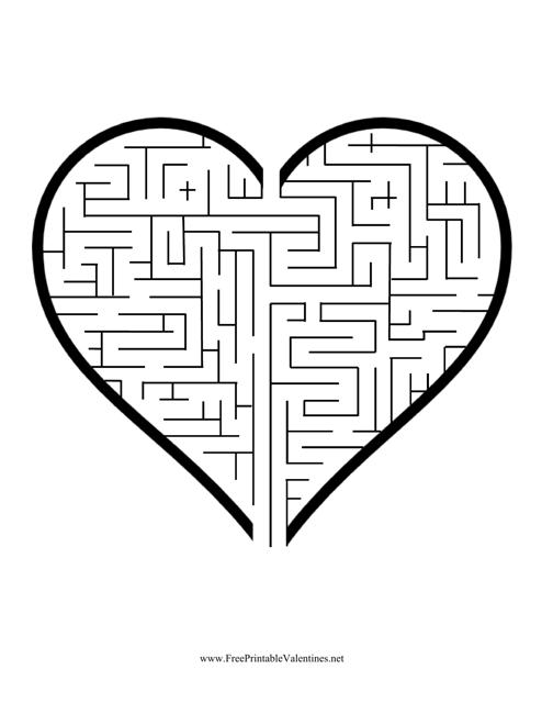 """Valentine's Day Heart Maze Template"" Download Pdf"