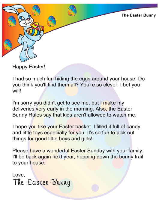 """Sample Easter Bunny Letter"" Download Pdf"