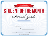 """""""7th Grade Student of the Month Certificate Template"""""""