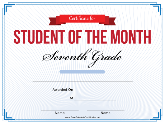 """""""7th Grade Student of the Month Certificate Template"""" Download Pdf"""