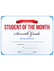 7th Grade Student Of The Month Certificate Template