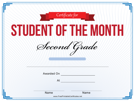 """""""2nd Grade Student of the Month Certificate Template"""" Download Pdf"""