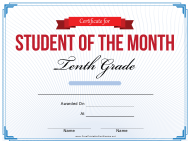 """10th Grade Student of the Month Certificate Template"""