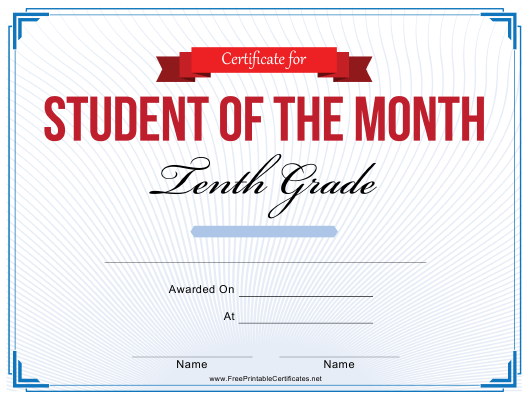 """""""10th Grade Student of the Month Certificate Template"""" Download Pdf"""
