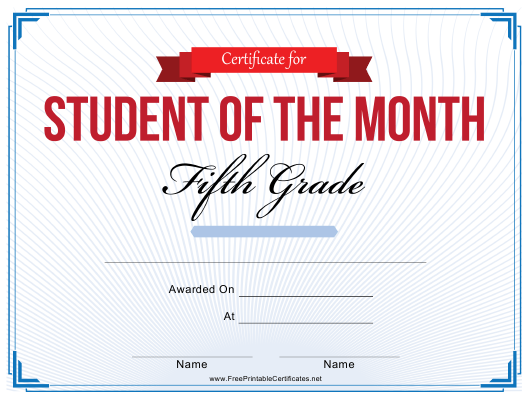"""5th Grade Student of the Month Certificate Template"" Download Pdf"