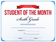 """6th Grade Student of the Month Certificate Template"""