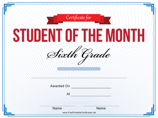 """""""6th Grade Student of the Month Certificate Template"""" Download Pdf"""