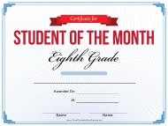 """8th Grade Student of the Month Certificate Template"""