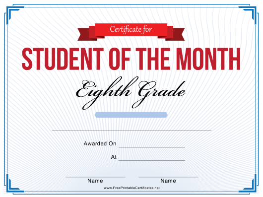 """8th Grade Student of the Month Certificate Template"" Download Pdf"