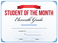 """11th Grade Student of the Month Certificate Template"""