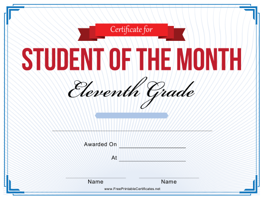 """11th Grade Student of the Month Certificate Template"" Download Pdf"