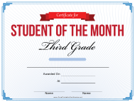 """Student of the Month Certificate Template - Third Grade"""