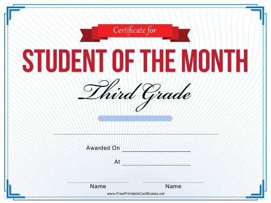 """""""Student of the Month Certificate Template - Third Grade"""" Download Pdf"""