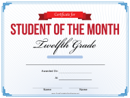 """12th Grade Student of the Month Certificate Template"""
