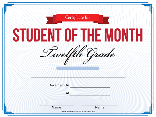 """""""12th Grade Student of the Month Certificate Template"""" Download Pdf"""