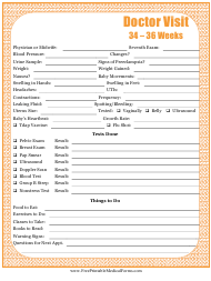 """Pregnancy Journal Template - 34-36 Weeks Doctor Visit"""