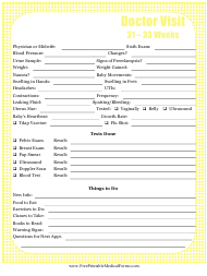 """Pregnancy Journal Template - 31-33 Weeks Doctor Visit"""