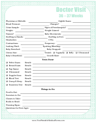 """""""Pregnancy Journal Template - 36-37 Weeks Doctor Visit"""""""