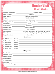"""Pregnancy Journal Template - 40-41 Weeks Doctor Visit"""