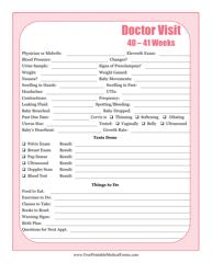 """""""Pregnancy Journal Template - 40-41 Weeks Doctor Visit"""""""
