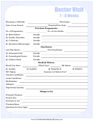 """Pregnancy Journal Template - 1-8 Weeks Doctor Visit"""