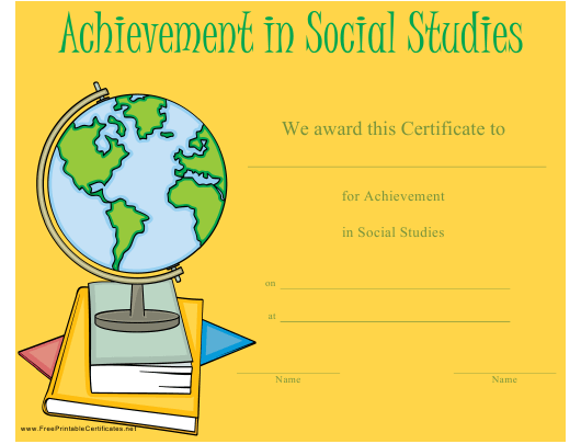 """Achievement in Social Studies Certificate Template"" Download Pdf"