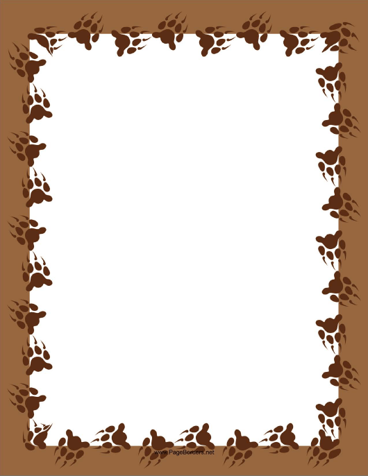 """Brown Bear Paw Page Border Template"" Download Pdf"
