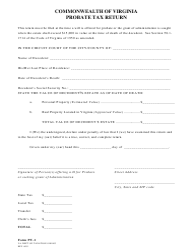 "Form PT-1 ""Probate Tax Return"" - Virginia"