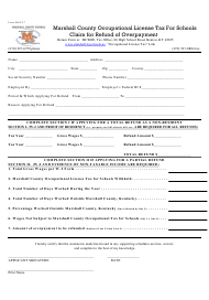 Form MOLT-7 Marshall County Occupational License Tax for Schools Claim for Refund of Overpayment - Marshall County, Kentucky