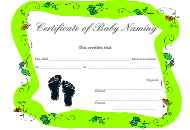 """Certificate of Baby Naming Template - Green"""