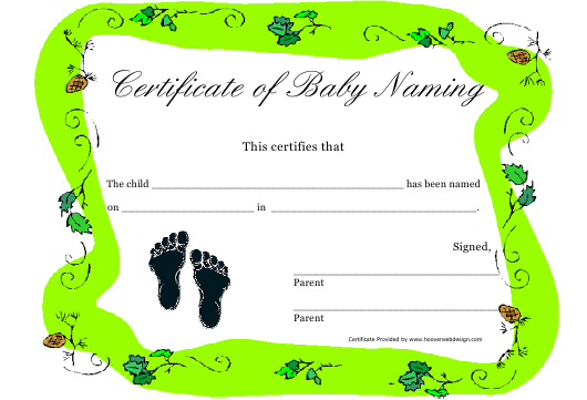 """Certificate of Baby Naming Template - Green"" Download Pdf"