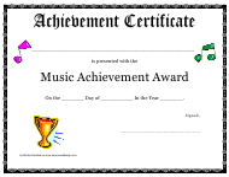 """Music Achievement Award Certificate Template"""