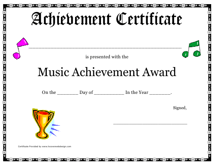 """Music Achievement Award Certificate Template"" Download Pdf"