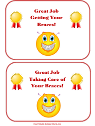 """Getting/Taking Care of Your Braces Award Certificate Templates"""