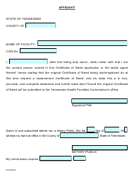 """Form H4-0043 """"Affidavit for Lost Con"""" - Tennessee"""