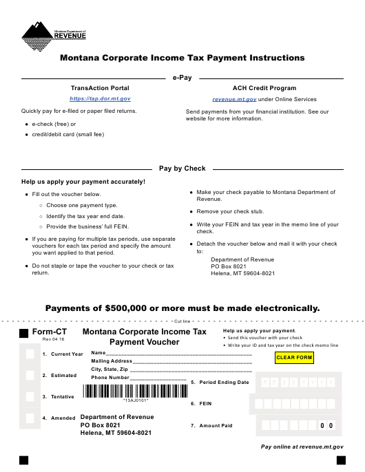 Form CT Download Fillable PDF, Montana Corporate Income Tax