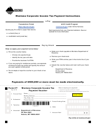 Form CT Montana Corporate Income Tax Payment Voucher - Montana