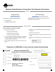 Form SB Montana Small Business Corporation Tax Payment Voucher - Montana