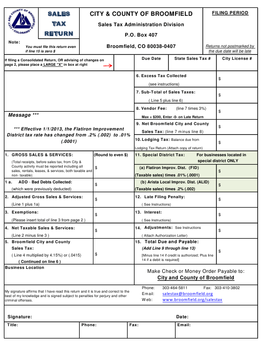 """""""Sales Tax Return Form"""" - City and County of Broomfield, Colorado Download Pdf"""